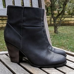 LOFT Vegan Leather Ankle Boot Stacked Heel